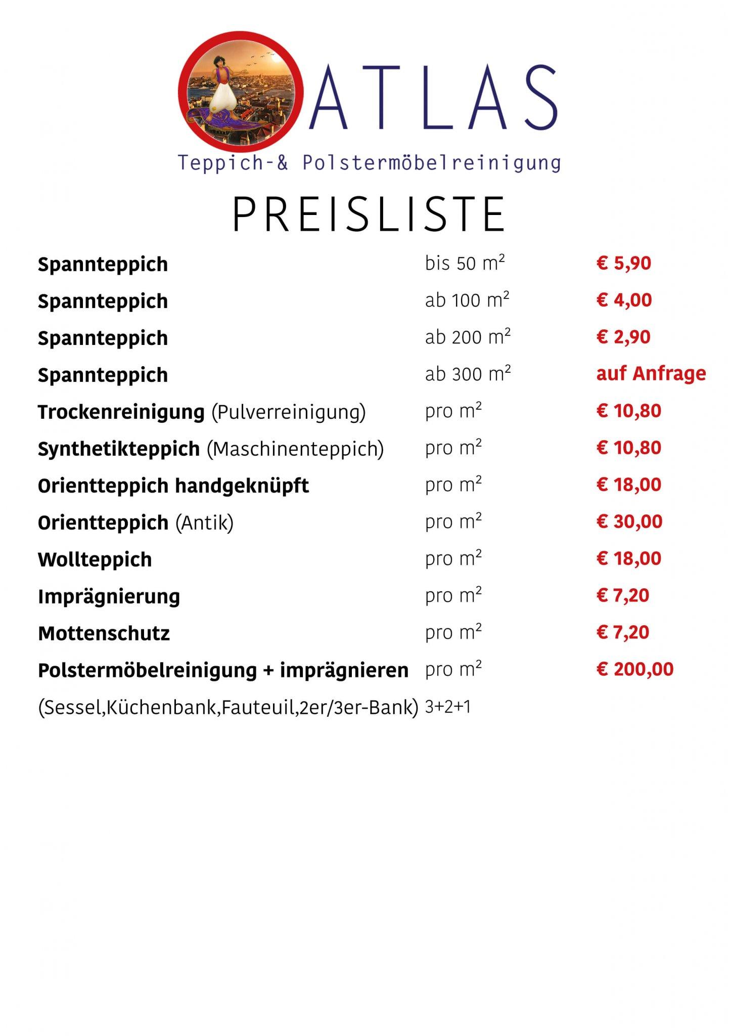 Atlas Preisliste